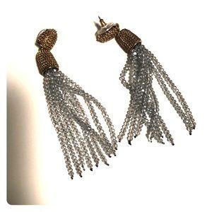 Jewelry - Dressy gold and gray tassel earrings